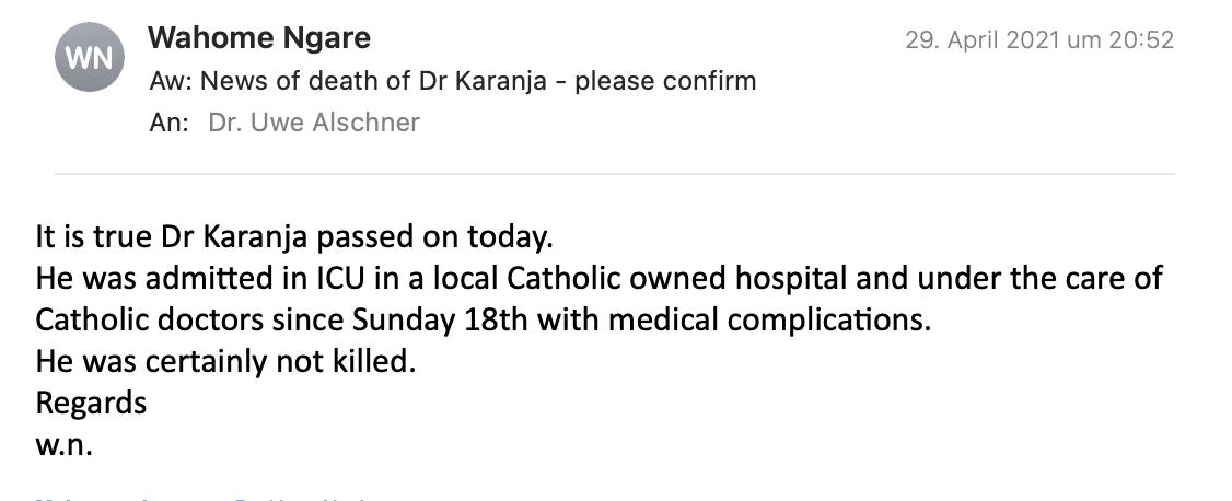 Dr. Ngare bestätigt Nachricht vom Tod Dr. Karanjas